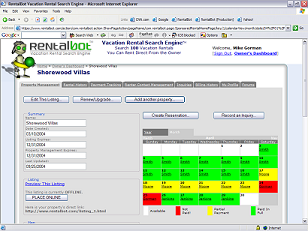 Screenshot of the RentalBot Owner's Dashboard