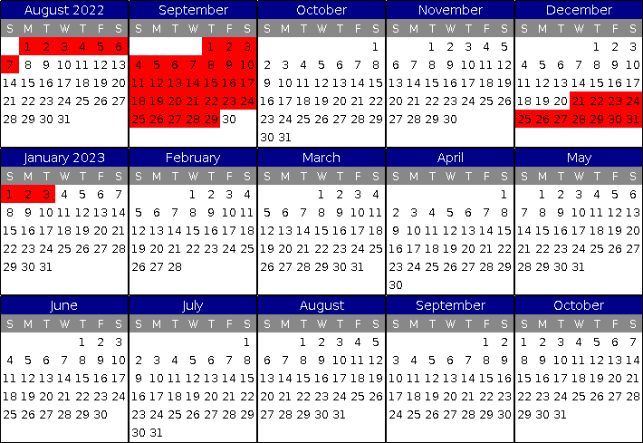 Villas de Costa Mar's Unit 10 Calendar